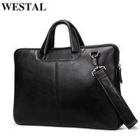 HBP WESTAL Men's Genuine Messenger Bag Leather Briefcase Computer Bags Men Briefcases for Laptop Q0112