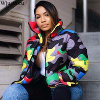 Wjustforu Plus Size Camouflage Winter Jacket Women Warm Turtleneck Coats Casual Parkas Zip Up Down Jacket Long Sleeve Outwear 201020