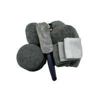 9 pcs lavagem de carro ferramenta limpa toalha de toalha gollves cereando esponja auto tinta cuidado lavagem lavagem roda roda escova1
