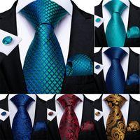 Lazos de arco DIBAN HOMBRES NECTORIA TREE BLUE PAISLEY DESIGNADOR Seda Lazo de bodas de seda para la gota de la fiesta de negocios de la gemela de Hanky