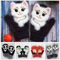 Зимние перчатки Рекомендуемые животные Кошка Собака Panda Дизайн Симпатичные Теплый Открытый Рукавицы Волосатые Kid Женщины Рукавицы Перчатки LJJP781