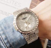 최고의 품질 남성용 작은 다이얼 작업 스퀘어 디자이너 전체 라인 석 강철 스트랩 다이아몬드 사파이어 자동 패션 남자 방수 시계