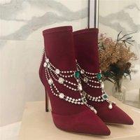 2021 Nuovo gioielli in pelle scamosciata di moda sottili tacchi alti scarpe da donna sexy catena catena diamante stivaletti in punta di punta design1
