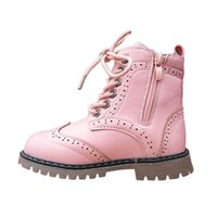 Girls Leather Boots Autumn Winter Waterproof Warm Children S...