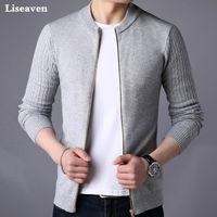 Femininos Liseaven Sweater masculino Jacket sólida Camisolas Cor Knitwear Aqueça Sweatercoat Cardigans Homens Roupa 201008