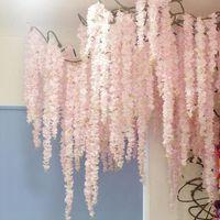 100CM искусственные Вишневый цвет винограда шелковые цветы для венчания партии потолочного декора поддельной гирлянды арки плющом декора поделок партии