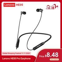 헤드폰 이어폰 Lenovo HE05 PRO 무선 블루투스 5.0 이어폰 이어폰 이어폰 이어폰 게임 헤드셋 IPX5 소음 CANC와 방수 스포츠 헤드폰