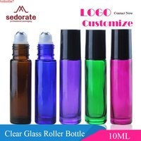 Sedorate 50 PCS / LOT Clear Roll On Bottle 10ml AMBER Esencial Aceite Azul Perfume Frosted Scrub Glass LZ005High Cantidad