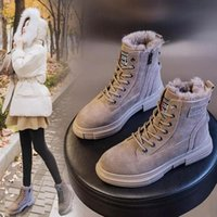Z55 Martin boots women 2020 winter flat student plus velvet nubuck leather snow boots platform Ankle Boots warm woman shoes #5D8T
