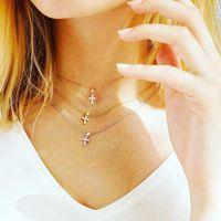 32 + 8 см крест подвеска Choker ожерелье милый CZ Cross Charm Girl Girl классические простые ювелирные изделия милый очаровательны 925 серебряный серебро
