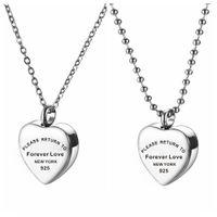 Ожерелье с памятью сердца для женщин, пожалуйста, вернитесь навсегда влюбленное из нержавеющей стали ожерелье из нержавеющей стали