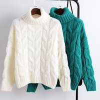 Women New Winter Knitted Thick Sweaters Turtleneck Long Slee...