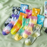Calze da uomo Daisy Tie-Dye Cotton Moda Casual Sports Hip-Hop Harajuku Street abbigliamento comodo traspirante Unisex35-43