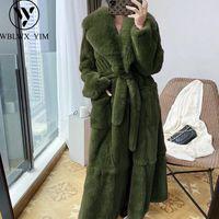 여성용 모피 가짜 겨울 자켓 여성 코트 따뜻한 두꺼운 느슨한 봉제 오버 사이즈 여자 롱 코트 솜털