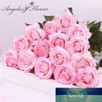 15 pcs / lot en soie rose toucher réel fleurs artificielles magnifiques de faux mariage de fleur pour le cadeau de décoration de fête à la maison Saint-Valentin
