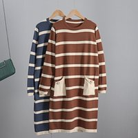 Bygouby Big Poche longue Tricoter Hétéro Femmes Robe En Automne Hiver Tunique Tunique Tops Chic Pull Sweater Robes O Cou Female 200930