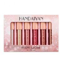 NEW arrival HANDAIYAN 6pcs set moisturize luminous lacquer-shine high gloss metallic diamond pearly lip gloss 20sets lot DHL
