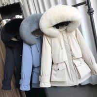 Fitaylor Winter большой натуральный енот Фокс мех с капюшоном пальто женщин 90% белая утка вниз куртка толстые теплые Parkas Snow Wrimonse 201103