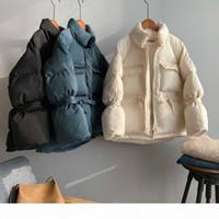 소녀 의류 캐주얼 짧은 면화 코트 긴 소매 느슨한 플러시 푹신 겨울 파카 여성 두꺼운 스탠드 칼라 화이트 파카 재킷