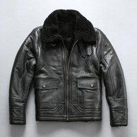Мужская кожаная из искусственного авирекселя 2021 мужчин B3 летная куртка, холодное зимние пилотные куртки повседневные импортные шерстяные меховые овчины России