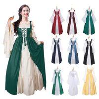 2020 europäischen und amerikanischen Quadratkragen gebündelt Taille mittelalterlichen Renaissance Retro-Kleid Weihnachtskleid