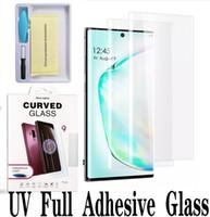 UV Tam Yapışkanlı Temperli Cam Samsung S20 Ultra Not 10 S9 Artı Vaka Dostu Ekran Koruyucu için Huawei P30 Pro Perakende Kutusu Ile