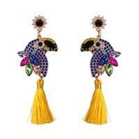 Dynda Żyrandol Moda Kryształ Zwierząt Papuga Tassel Drop Kolczyk Dla Kobiet Rhinestone Oświadczenie Kolorowe Party Prezent