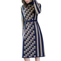 Long Knitt Pullover 2020 New Autumn Winter Fashion Women's Sweater Jumper Ladies Soft Plaid Elegant Knitting Dress A279