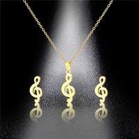 Oro / Plata Color Música Nota Colgante Collar Pendiente Conjuntos Música Fans Moda Joyería Regalo Clavícula Gargantilla Collar para Mujeres