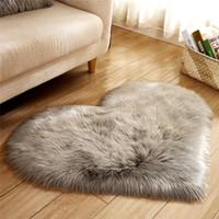 Pelúcia coração forma esteira sala de estar escritório imitação lã tapete quarto macio home não deslizamento tapetes