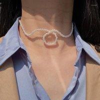 Chokers Aomu Design Simple Resumen Cloud Forma Collar Collar Hyperbole Líneas geométricas Pearl Choker Cadena de clavícula para mujer Joyería1