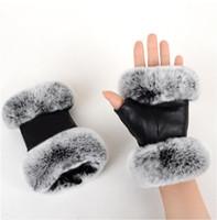 Otoño otoño e invierno guantes de piel de oveja de las mujeres Rex Conejo de piel de piel de piel medio cortada escribiendo el comercio exterior Ropa de cuero Mittens