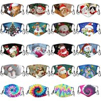 Weihnachtsdekorationen Masken Cat Weihnachtsmann Elk Druck Staubdicht Waschbar Cotton Gesichtsmaske Kann Filter Weihnachten Masken XD24056 Put