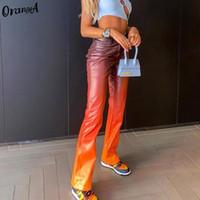 Orangea النساء التدرج الملونة Y2K فو الجلود السراويل مستقيم خمر مكتب سيدة ضئيلة 2021 الربيع أزياء الشارع الشهير السراويل