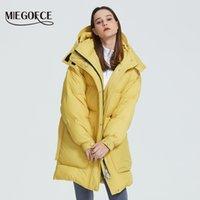 MIEGOFCE Нового дизайн пальто зимы женщины Parka Изолированных Сыпучие Cut с накладными карманами Повседневной Сыпучей куртки воротник стойки с капюшоном 201019