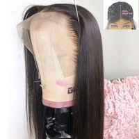 Длинные прямые кружевные фронтальный парик 28 30 дюймов бразильский T Часть кружева фронтальные волосы для волос для чернокожих женщин предварительно сорванный отбеленные узлы