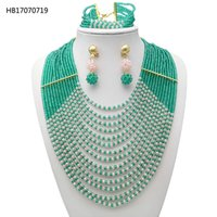 Yulaili ожерелье из бисера серьги Браслет Пластиковый Gem Многослойной Заявление Чокеры Свадебные аксессуары African Бисер Ювелирные наборы