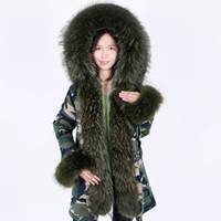 MaoMaoKong Doğal gerçek rakun kürk ceket gerçek rakun kürk lideri kapüşonlu ceket kısa parka uzun kamuflaj kış ceket 201.014