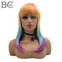 Peluca de pelo recta del color del arco iris para las mujeres Máquina sintética de peluca hecha con la peluca plana de la peluca de cosplay envío gratis