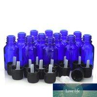 12p جيم 15ML زجاجات الكوبالت الأزرق زجاج اليورو القطارة مع المخفض فتحة عبث واضح غطاء للالروائح والعطور من الضروري النفط