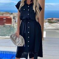 Shyloli Rahat Papyon Cepler Bandaj Elbise Batwing Kol Down Yaka Midi Elbise 2020 Yeni Moda Yaz Elbise T200623