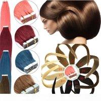 Cinta en extensiones de cabello humano PU Barato PU Piel Tronco 8A Virgin Indian Remy Hair 16-24 pulgadas 20pcs 15 colores