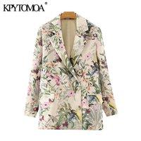 KPYTOMOA Kadınlar Moda Ofis Giyim Çiçek Baskı Blazer Ceket Vintage Uzun Kollu Cepler Kadın Giyim Kentleri Şık 201110 Tops