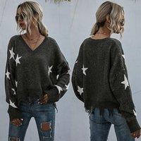 Damen Pullover Mode Casual Style Star Quaste gestrickter Pullover Womens Pullover V-Ausschnitt im Herbst und im Winter