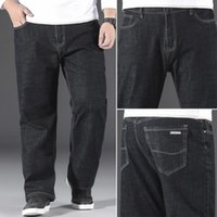 Jeans pour hommes Shan Bao Pochette classique Pochette droite Denim 2021 Printemps Marque De grande taille Coton Stretch Noir 40 42 44