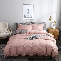 Conjuntos de cobertura de edredão rosa e cinza textura lateral impresso liso de cor liso conjunto de cama único sólido tamanho de consolador de tamanho redentcador fronha1