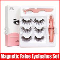 Magnetische Flüssigkeit Eyeliner Magnetische False Wimpern Tweezer Set 5 Magnet Falsche Wimpern Set Kleber Make Up Werkzeuge 3 Paare Wimpern 3 in 1 Set