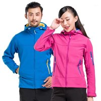NUONEKO Erkekler Kadınlar Sonbahar Açık Softshell Yürüyüş Ceket Spor Su Geçirmez Ceketler Polar Rüzgarlık Kamp Coats JM071