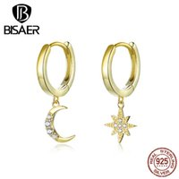 Moon And Star Earrings BISAER 925 Sterling Silver Luminous Cubic Zircon Moon & Star Women Stud Earrings Jewelry ECE785