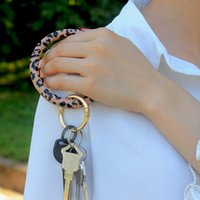 Leopard Leather Wristlet Keychain Bracelet Bangle Keyring La...
